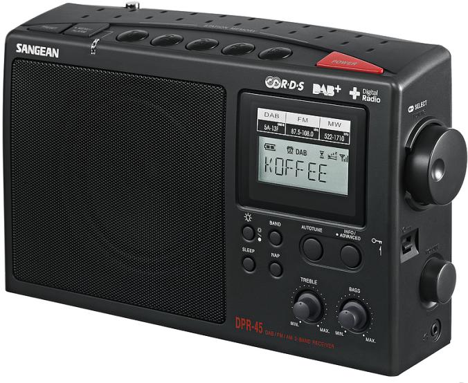 Sangeanradio med store knapper og tydelig display. Dette er en radio som er enkel i bruk.
