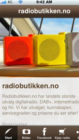 Bilde fra Radiobutikken.no sin mobilAPP