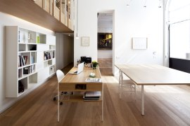modest-small-wooden-home-office-design-with-long-brown-white-table-chair-and-floating-shelves