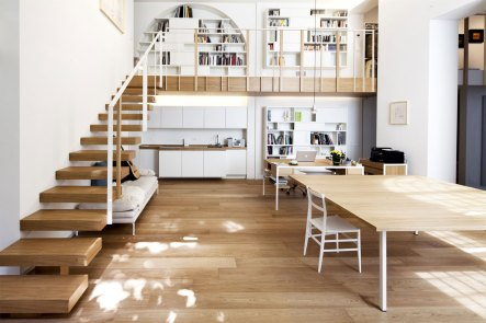 small-home-office-and-kitchen-under-wooden-staircase-with-white-interior-decoration-ideas-plus-laminate-flooring-tile-parquet-table-and-wall-shelving-units-with-drawer-and-cabinets