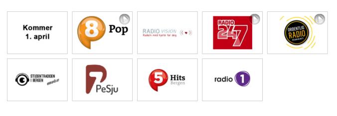 Dabradiokanaler i Bergen. (skjermdump fra radio.no)